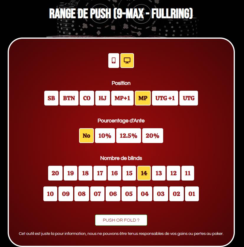 Калкулатор на диапазона на натискане на 9-max fullring