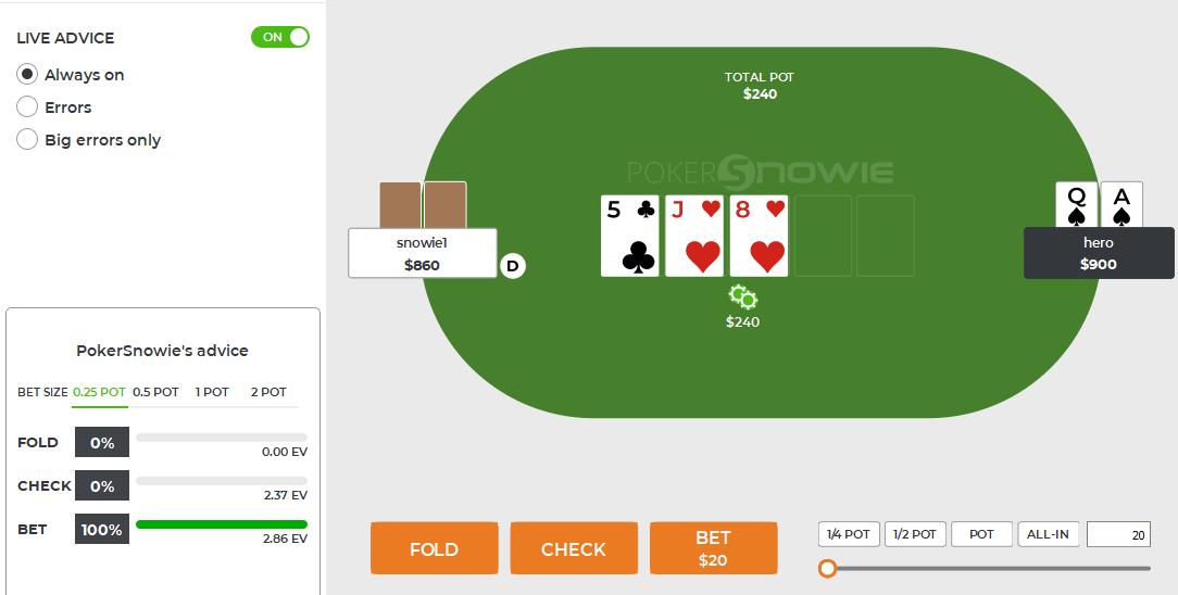 Sugerencias para el fracasoPor defecto, PokerSnowie nos dará la sugerencia más rentable. Por ejemplo, aquí se sugiere que apostemos el 25% del tamaño de la maceta. Apostar el 50% del tamaño del pote o las apuestas de pote también verán un resultado a largo plazo, pero menos significativo que apostar el 25% del pote. También notamos que el cheque tiene una expectativa positiva de ganar. PokerSnowie no tiene la ciencia infundida, así que dependiendo de tu verdadera mala suerte, ajústate. Si tu villano es hiper agresivo, un cheque será, a la larga, probablemente más rentable que una apuesta. La opción de congelación tiene muchas ventajas, incluyendo la posibilidad de trabajar en el juego de la pila corta (cuando las colchonetas son pequeñas en los torneos)