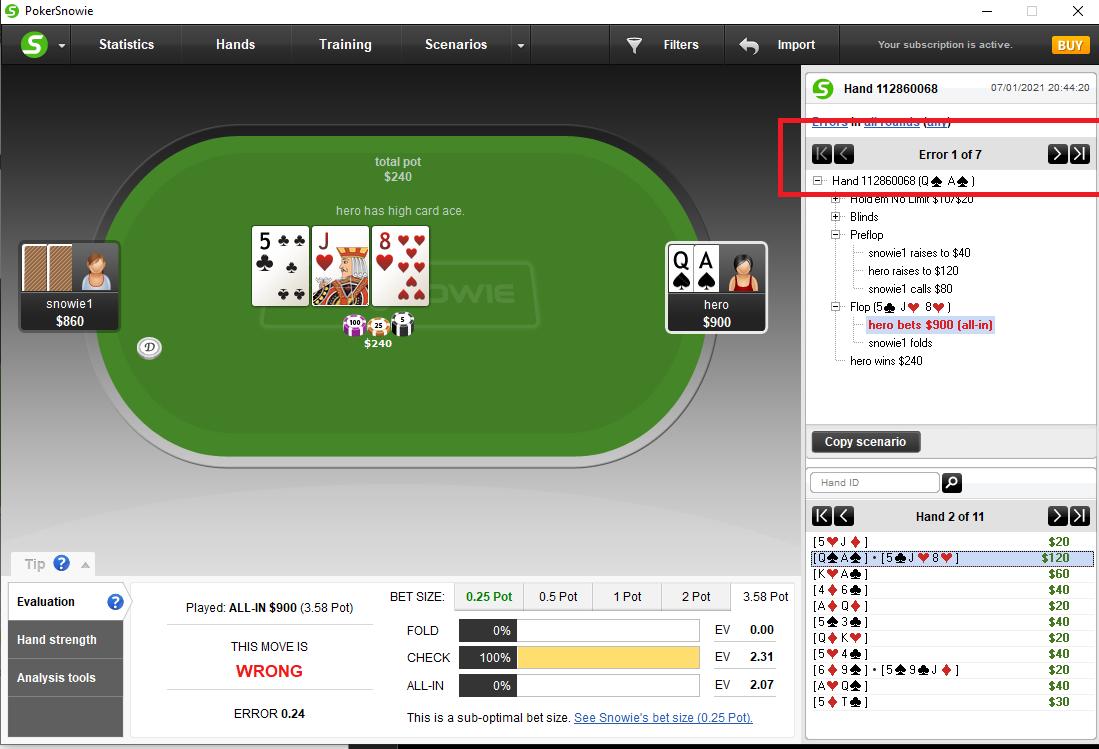 Error de apuestas de Pokersnowie