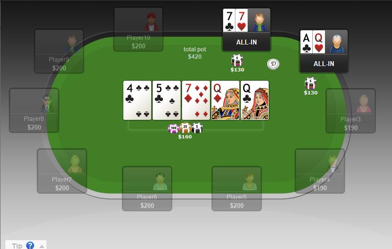 Showdown in poker.