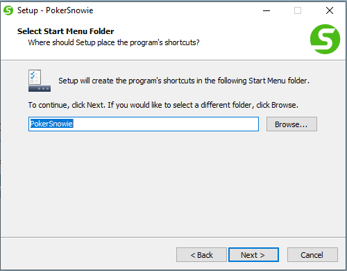 Creating the Pokersnowie shortcut