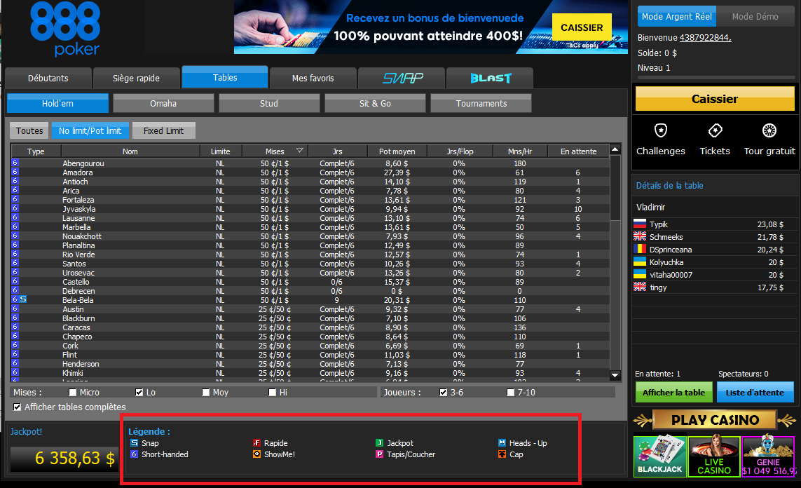 Tables de 888poker