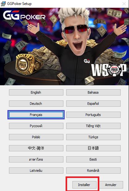 choose ggpoker language