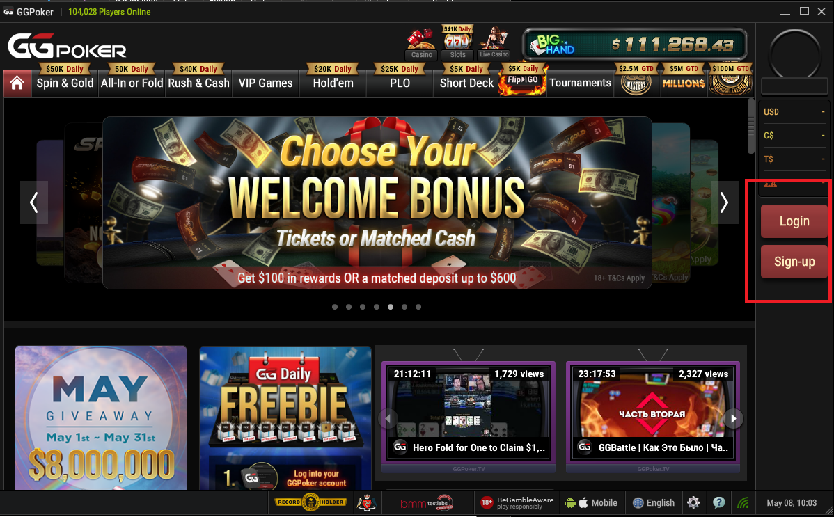Login to your ggpoker account