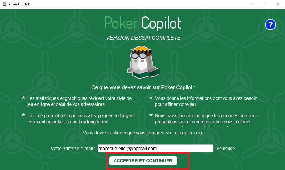 Version d'essai poker copilot