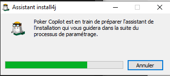 Lancement de l'installation poker copilot