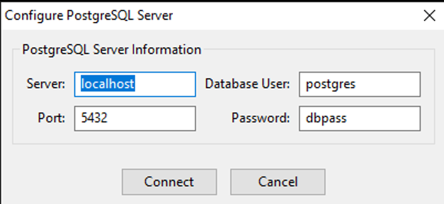 Connecting to the PostgreSQL server