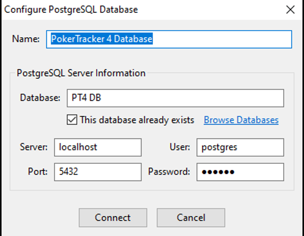 PostgreSQL database configuration